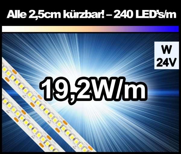 1m Superhell mit 240 LED's/m und 1650 lm/m bei 19,2W/m 24V LED Strips weiß SMD 3528 Strip HP