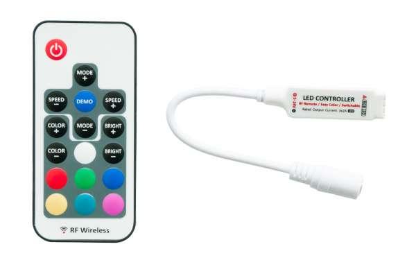 RGB Funk-Mini-Controller für LED-Strips Steuergerät Stripes 12V / 24V mit Farb-Direktwahltasten