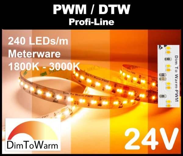 1m DTW LED Strip SMD 2216 PL, 1900 lm/m bei 20W/m, 24V LED Streifen, 1800K - 3000K Dim-to-warm, CRI>90