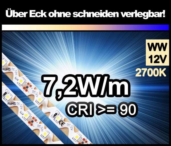 1m Zig-Zag 3528 LED Strip CRI>90 mit 530 lm/m bei 7,2W/m warmweiß 2700K, 12V Strips Flexband