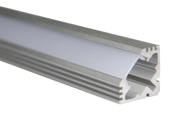 LED Alu-Profil SET: 1m Aluprofil Winkel / LED Winkelprofil 19 x 19mm inkl. Abdeckung Frost, Endkappen + Halterungen