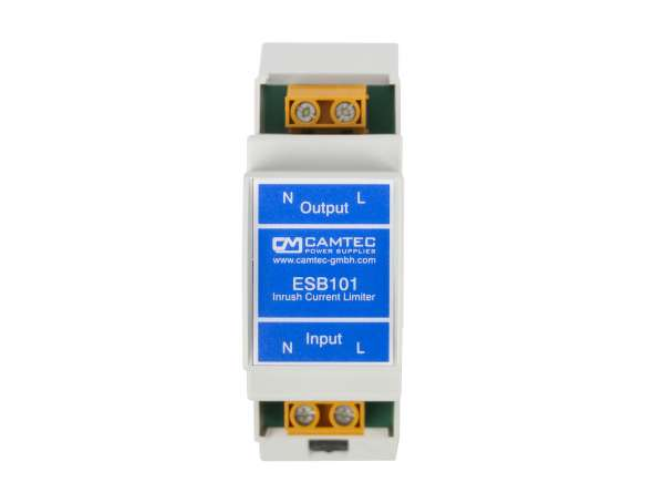 Camtec Einschaltstrombegrenzer ESB101.LED230Vac, Spitzenstrombegrenzer für LED Netzteile, Hutschienenmontage