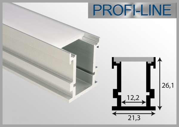 LED Alu-Profil 2m trittfestes Aluprofil / LED Aufbau Profil LAP-04 für LED-Strips bis 12mm inkl. Abdeckung