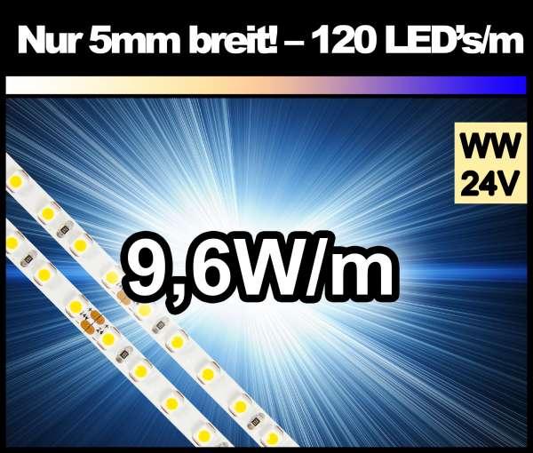 1m LED-Strip nur 5mm breit, 120 LEDs/m, 700 lm/m bei 9,6W/m 24V warmweiß SMD 3528 Strips