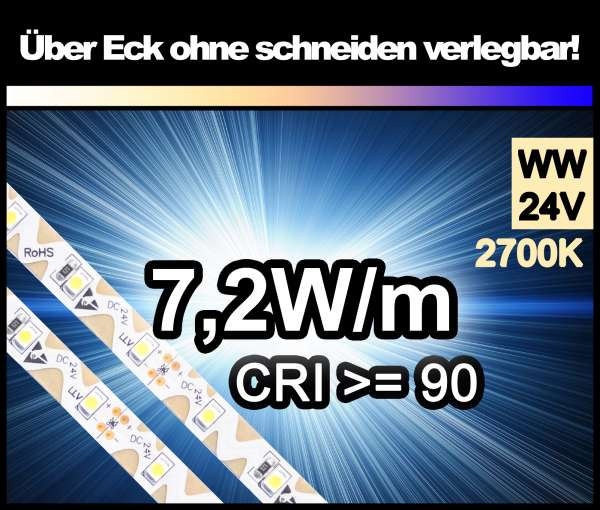 1m Zig-Zag 3528 LED Strip CRI>90 mit 530 lm/m bei 7,2W/m warmweiß 2700K, 24V Strips Flexband