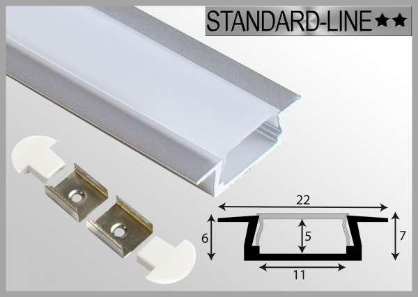LED Alu-Profil SET: 1m Aluprofil Einbau 22 x 7mm inkl. Abdeckung Frost, Endkappen und Halterungen