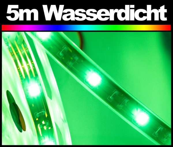 5m RGB 5050 LED Strip wasserdicht mehrfarbig Strips IP67 im Silikonschlauch Flexband