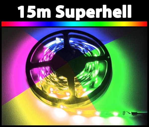 15m 14,4W/m RGB 5050 LED Strip 24V mehrfarbig Strips Flexband