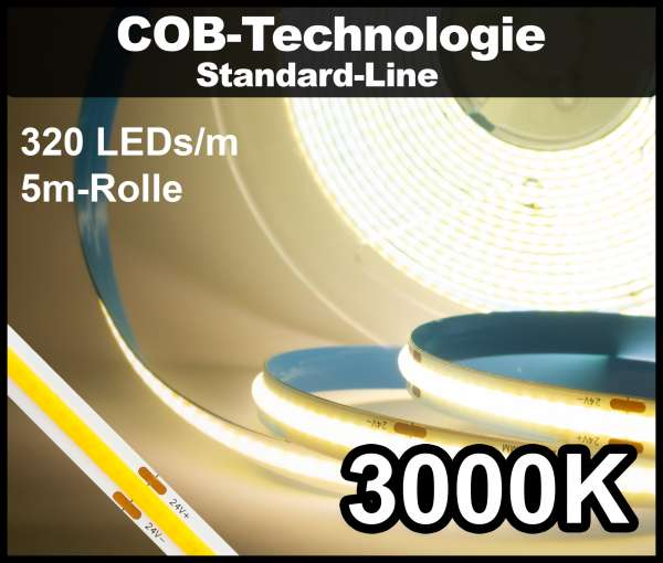 5m COB LED Strip SL 320 NEON-like 24V, 490 lm/m bei 4,8W/m, warmweiß (3000K), CRI>80 Streifen Flexband IP33