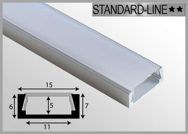 LED Alu-Profil 1m Aluprofil / LED-Profil Aufbau 15 x 6mm für LED-Strips inkl. Abdeckung Frost