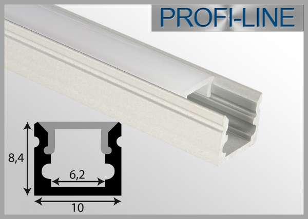 10 cm MUSTER LED Alu-Profil 2m Aluprofil / LED Vitrinen / Regal Profil VIT-06 für LED-Strips bis 6 mm Breite, inkl. Abdeckung