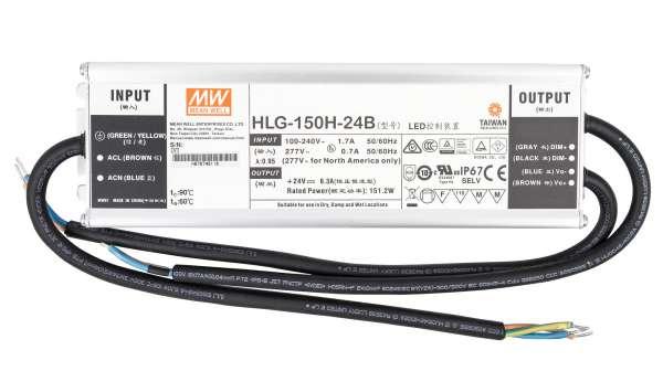 Mean Well HLG-150H-24B, dimmbares Netzteil 230V auf DC 24V/150W speziell für LED-Beleuchtung, Trafo für Strips