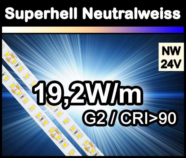 1m Superhell G2 mit 1750 lm/m bei 19,2W/m 24V LED Strips neutralweiß SMD 2835 Strip HP Superbright
