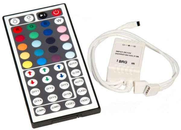 SONDERPOSTEN: 44-Key IR-Controller Steuergerät für 12V/24V RGB LED-Strips mit Fernbedienung