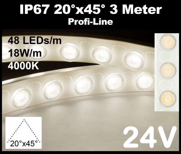 3m Outdoor IP67 LED-Strip Wallwasher SMD 2835 PL 18W/m 24V CRI>90 neutralweiß (4000K) 48 LEDs/m mit Linsen 20° x 45° Wandfluter